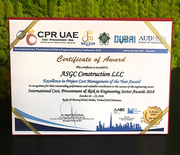 Excellence in Project Cost Management of the Year 2018 Award